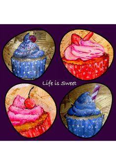 Life is sweet, cupcake art Apple Art, Cupcake Art, Toffee, Tableware, Sweet, Life, Sticky Toffee, Candy, Dinnerware
