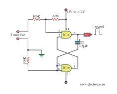Esta é uma chave de controle por toque bem simples, ela usa um circuito integrado CMOS 4011 que é um circuito integrado com quatro portas NAND e com duas entradas cada.
