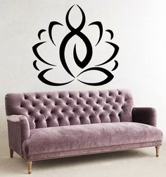 Wall Decals Sport Yoga Lotus Flower Gym Vinyl Sticker Murals Wall Decor KG139