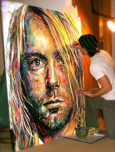 Funny pictures about A perfect painting of Kurt Cobain. Oh, and cool pics about A perfect painting of Kurt Cobain. Also, A perfect painting of Kurt Cobain. L'art Du Portrait, Creation Art, Arte Pop, Oeuvre D'art, Artist At Work, Love Art, Painting Inspiration, Art Inspo, Urban Art