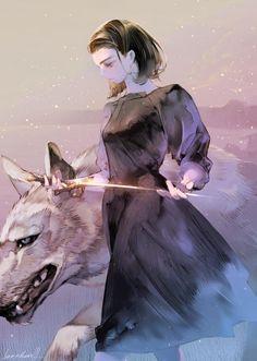 arya stark nymeria direwolf anime otaku fanart IsaacHein3