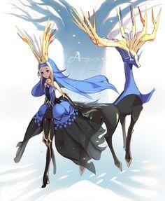 1000marie 1girl blonde_hair blue_hair crown long_hair multicolored_hair personification pokemon pokemon_(game) pokemon_xy two-tone_hair xerneas
