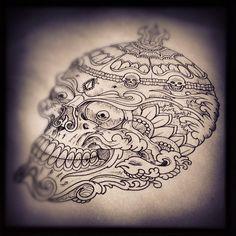 tibetan skull Mandala Tattoo, Arm Tattoo, Tattoo Caveira, Tibetan Tattoo, Stuff Co, Fu Dog, Graffiti, Japanese Tattoo Art, Japan Tattoo