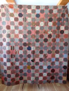 Antique Quilt. Snowball Quilt. Beautiful Condition. Lots of Pink. Broken Dishes. 1800s. $595.00, via Etsy.