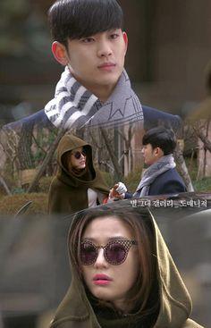Min Joon rompe el contrato de Song Yi con su nueva agencia, se deshace del staff que estaba esperándola y llega en su auto para llevarla a la filmación, ofreciéndose a ser su manager -  My Love From Another Star Episodio 15
