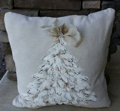 New! Elegant, White on White, Christmas Tree, White Tree, Cottage, Farmhouse, Burlap and Rhinestone, Holidays, Hand-painted, Pillow Cover