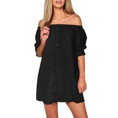 Off The  Shoulder Button Mini Dress