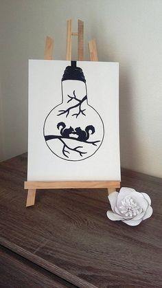 Affiche Illustration Noir et blanc ampoule  romance