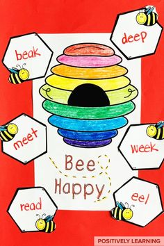 This Long E Craft helps learning STICK! This pack include a fast-paced phonics game focused on Long E Spellings PLUS a bee hive craft using Long E words. From Positively Learning #craft #phonics