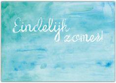 Summer - l'éte - Zomer! Het Noteboompje aquarel zomer kaart/poster