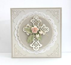 card communion - confirmation - konfirmation - cross doily flowers - pojjos.blogg.se