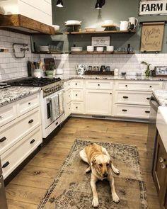 Farmhouse Kitchen Cabinets, Farmhouse Style Kitchen, Modern Farmhouse Kitchens, New Kitchen, Farmhouse Decor, Awesome Kitchen, Kitchen Cabinetry, Farmhouse Ideas, Kitchen Countertops
