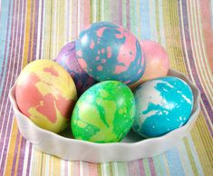 Easter eggs dyed with soap colorants