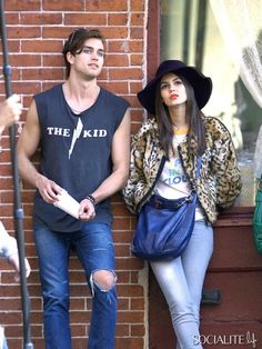 Actors Victoria Justice and Pierson Fode film scenes for 'Naomi and Ely's No Kiss List' in New York City, New York on October 15, 2013.