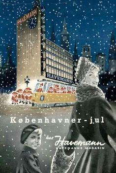 Plakat for Jul i Haveman Retro Advertising, Vintage Advertisements, Old Posters, Some Beautiful Images, Mid Century Art, Copenhagen Denmark, Vintage Travel Posters, Vintage Christmas, Retro Vintage