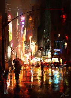 Kai Fine Art is an art website, shows painting and illustration works all over the world. City Painting, New York Painting, Rain Painting, Street Painting, Painting Studio, Matte Painting, Studio Art, City Art, Urban Landscape