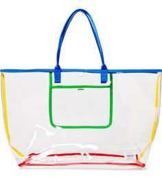 Large Clear Transparent Vinyl Tote Bag Set Blue Chevron/Waterproof ...