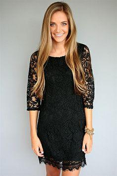 Ella Moss Black Lace 3/4 Sleeve Dress at Rosie True