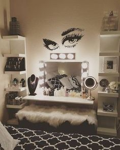 Glam makeup room ideas beauty room ideas makeup room ideas glam bedroom wall decor best on teen bed full size home decorations ideas for christmas Dream Rooms, Dream Bedroom, Girls Bedroom, Bedroom Decor, Wall Decor, Bedroom Ideas, Bedrooms, Bedroom Wall, Wall Art