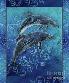 Perfect Pair - Porpoise Vertical Bordered by Sue Duda Batik Art, Batik Prints, Fish Ocean, Ocean Art, Acrylic Canvas, Art Music, Wood Print, Underwater, Vibrant Colors