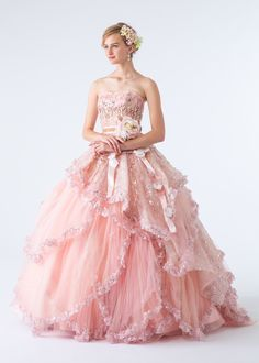 Dress for Karine Pink Wedding Gowns, Colored Wedding Dress, Bridal Dresses, Quince Dresses, Formal Dresses, Pink Colour Dress, Beautiful Costumes, Fantasy Dress, Folk Costume