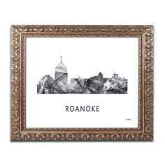Marlene Watson 'Roanoke Virginia Skyline WB-BW' Ornate Framed Art