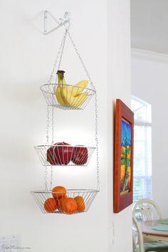 Hanging fruit basket + other kitchen organization ideas via housemixblog.com