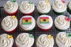 Ghana themed cupcakes for a charity bake sale.  www.facebook.com/happylbaker