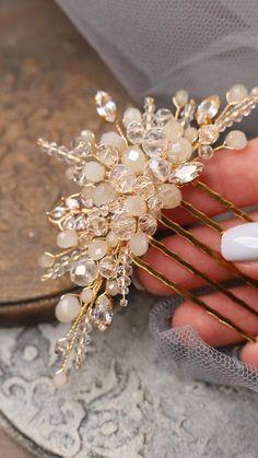Cute Jewelry, Hair Jewelry, Wedding Jewelry, Rhinestone Jewelry, Beaded Jewelry, Bridal Comb, Bridal Hair, Bride Hair Accessories, Hair Beads