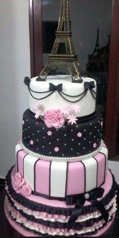 Bolo Paris, Paris Cakes, Party, Amanda, Desserts, Sweet 15, Blue Party, Birthday Cakes, Masha And The Bear