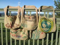 5 Burlap Coffee Tote Bags by TanteandOom on Etsy, $89.00