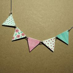 Bunting Necklace Handmade kitsch Jewelry by TheCatkinBoutique, $23.50