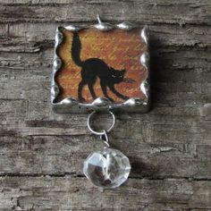 Black Cat Flying Bat 1 Inch Glass Soldered by MablesGranddaughter, $15.00