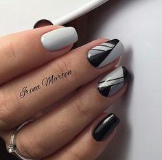 Grey and black nails negledesign, negle, negle design. Grey Nail Designs, Cool Nail Designs, Gray Nails, Black Nails, White Nails, Fun Nails, Pretty Nails, Nagel Hacks, Elegant Nail Art