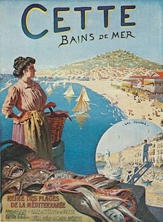 Sete, in the south of France, is spelled with a C on this lovely old illustration.