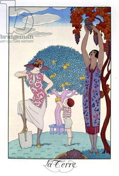 The Earth, 1925 (colour litho), Barbier, Georges (1882-1932) / Private Collection / The Stapleton Collection / Bridgeman Images