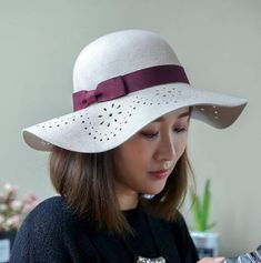 Flowers hollow felt hat for women fashion beige wool wide brim hats with bow a55a87421a63
