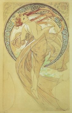 alphonse mucha 1898+The+Arts+-+Dance+1+study+pencil+&+watercolour