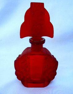 Vintage Signed Czech Czechoslovakia Ruby Red Cut Flowers Glass Perfume Bottle | eBay