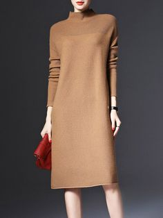 #StyleWe Shop LONYUASH Dresses - Brown Long Sleeve Cashmere Sweater Dress online. Discover unique designers fashion at AdoreWe.net.