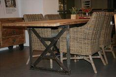 Tavolo Vintage Iron [HL049] Tavolo con piano in legno inglese riciclato, struttura in ferro industriale cm 250x85 h75