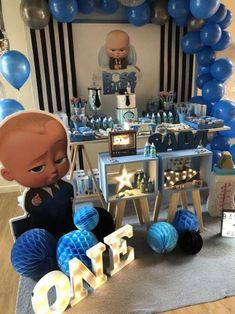 Check out this cool Baby Boss Birthday Party! See more party ideas and share you Boss birthday Baby Boy Birthday Themes, Boss Birthday, Boys First Birthday Party Ideas, Baby Boy First Birthday, Party Themes For Boys, Boy Birthday Parties, Cake Birthday, 1st Birthday Decorations Boy, Boy Theme Party