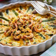 Sparrispaj med marinerade räkor - recept | Mitt kök Kebab Wrap, Frittata, Paella, Allrecipes, Macaroni And Cheese, Tart, Seafood, Food Porn, Brunch
