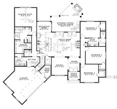 Buchanan Drive House Plan - 4955 I like go the master is separated from the other rooms but isn't right off the kitchen either.