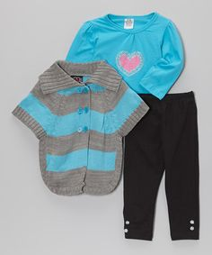 Take a look at this Teal & Gray Stripe Sweater Set - Infant, Toddler & Girls by Real Love on #zulily today!