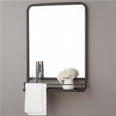 Option for master bath mirrors. Could also be used in 1/2 bath. Metal Mirror with Shelf - Small