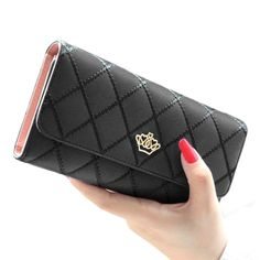 Women's Black & Pink Leather Pleated Royal Clutch Wallet