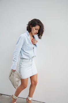 American Apparel skirt, Gucci sandals