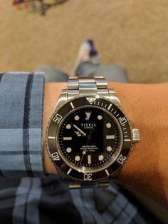 Tisell Black Marine Diver Automatic Dive Watch W Ceramic Bezel Sub