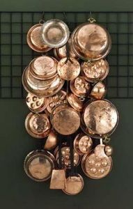 25 Piece Orted Antique Vintage Style Hanging Copper Pots Kitchen Wall Decor